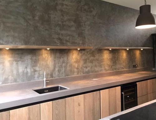 Houten keuken met beton look